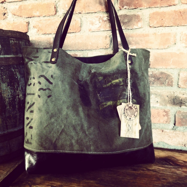 Military bag made from reclaimed military canvas.