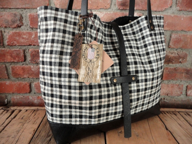 plaid and leather tote