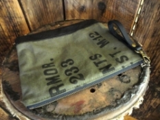 military pouch made from repurposed military canvas