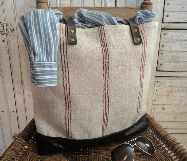 tnbc designs Antique grain sack large tote / weekend bag