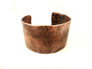 Men's copper cuff bracelet made from recycled copper