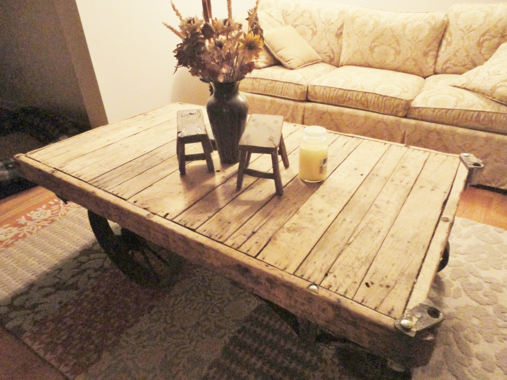 Antique industrial factory cart made into a coffee table
